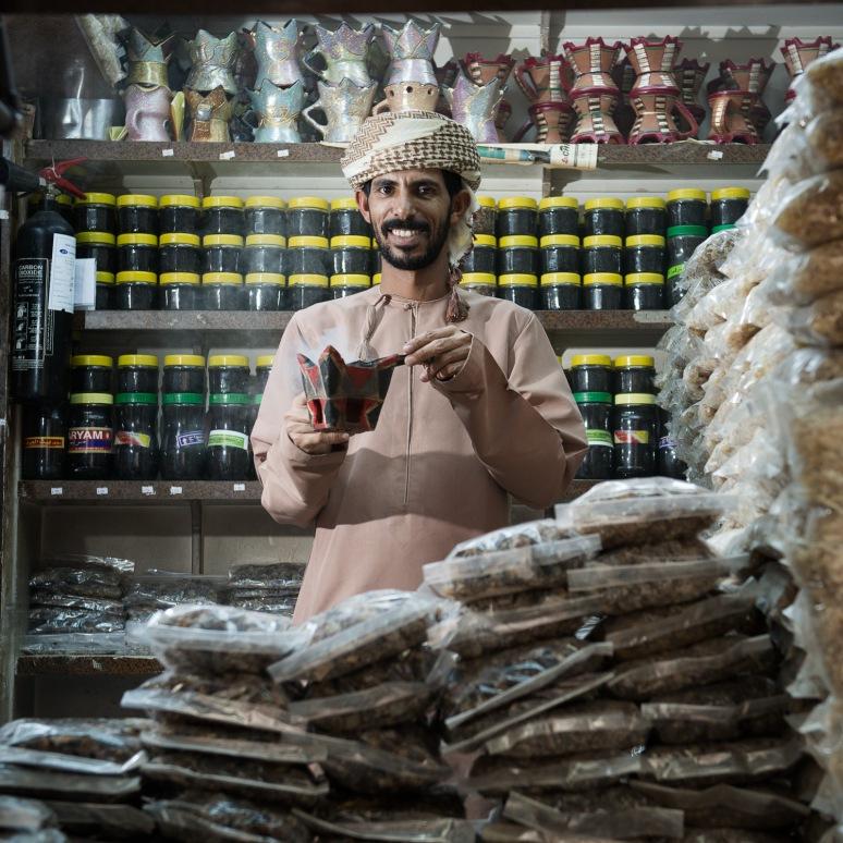 Frankincense trader sampling his product
