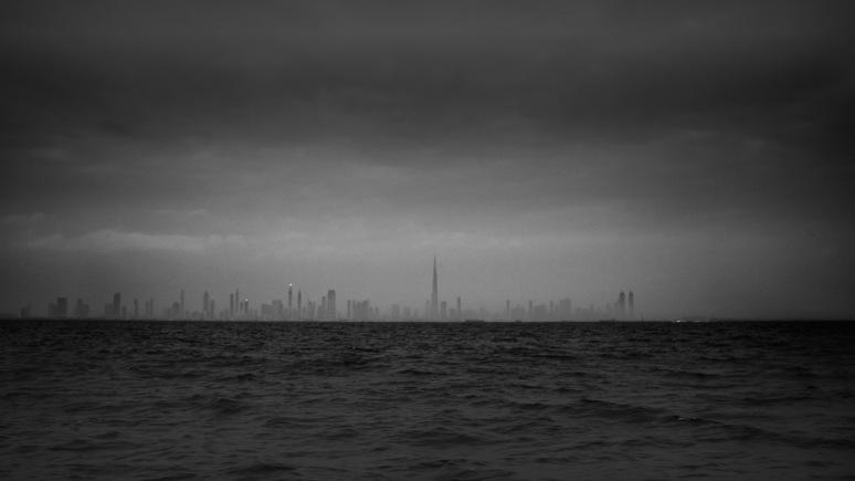 Sunrise over cloudy Dubai